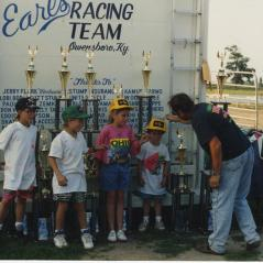 Posing with hardware at the end of another successful race weekend. (Nicky in the green hat.) - Photo: Hayden Family Collection