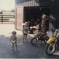 The Hayden boys chomping at the bit to leave for another race. (Nicky standing on the seat.) - Photo: Hayden Family Collection