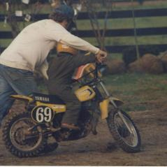 Earl teaching Nick how to use a clutch for the step up from PW50s. - Photo: Hayden Family Collection