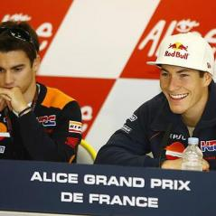 Nicky and teammate Dani Pedrosa at a Le Mans press conference. - Photo: Hayden archives