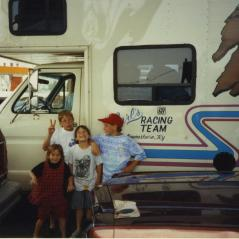 The kids with family race rig. (Nicky in the red hat.) - Photo: Hayden Family Collection
