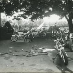 Nicky doing some wrenching on the family's fleet of race bikes. - Photo: Hayden Family Collection